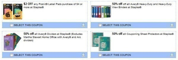 staples office store 4 coupons for avery binders sheet protectors