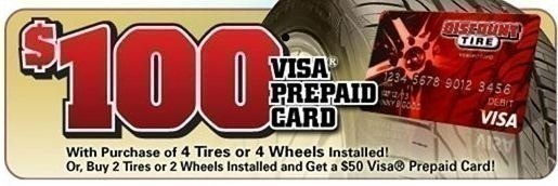 Discount Tire: $50 or $100 Prepaid Gift Card with Tire Purchase ...