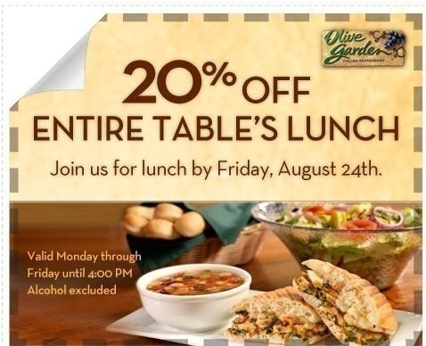 the olive garden 20 off lunch or 5 2 dinner entrees thru 8 26