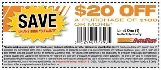 autozone printable coupon autozone 20 100 purchase offer 20529