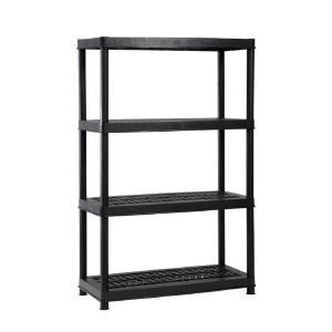 home depot hdx black plastic ventilated storage shelving unit rh thecentsableshoppin com