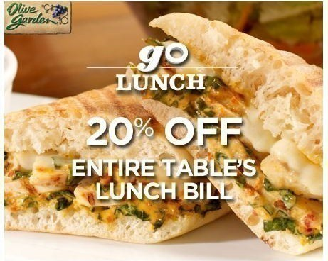 New Olive Garden Coupons 5 1 Lighter Fare Dinner Entree 20 Off Lunch