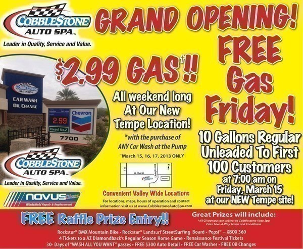 Tempe: Cobblestone Auto Spa Grand Opening (FREE Gas Friday