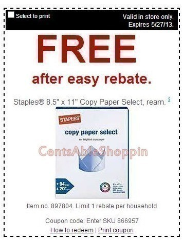 Staples Free Ream Of 8 5 11 Copy Paper Through 5 27 After Rebate
