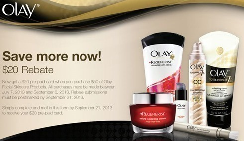 New Olay Rebate | Spend $50 get a $20 Pre-Paid Card (Starts July 7th)
