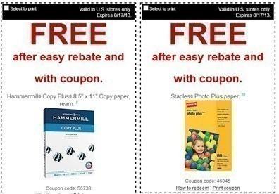 Staples Free Copy Plus Paper Photo Paper And Pastel Paper Through