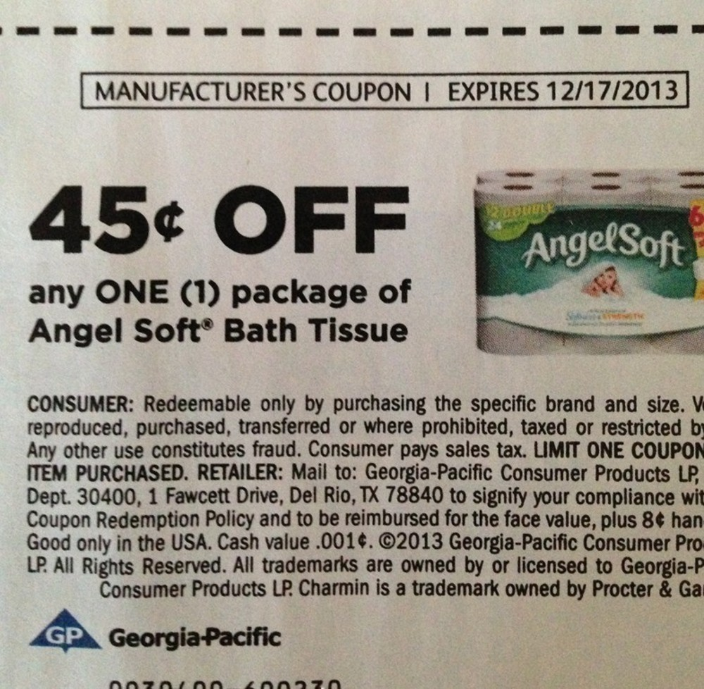 Printable coupons for angel soft toilet tissue
