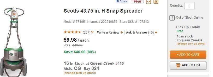 home depot scott rsquo s snap spreader just 9 98 reg 49 98