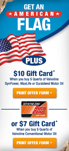 AutoZone: $10 Gift Card with Motor Oil Purchase {+ Score $5