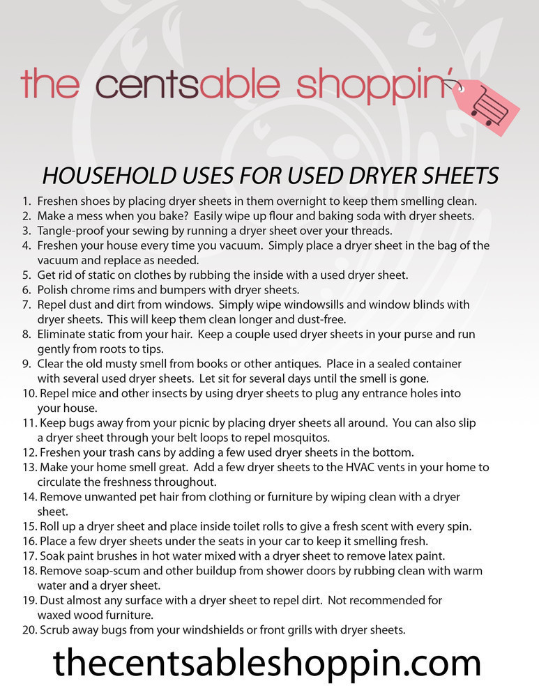 20 Household Uses for Used Dryer Sheets