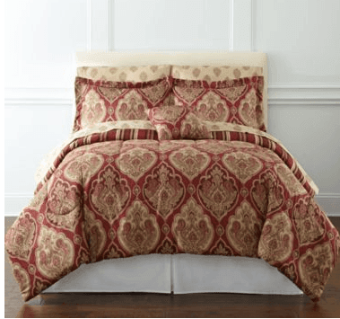 Jcpenney 7 Pc Stafford Red Damask Print Queen Bedding Set 38 Free Ship To Reg 140