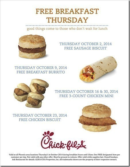 Tuesday Oct. 4 is FREE Breakfast Tuesday at Atlanta area Chick-fil-A restaurants. The restaurants have been promoting the day for months in store and on social media. Between a.m. and a.