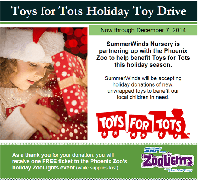 Toys For Holiday Toy Drive Free Zoolights Ticket With Donation At Summerwinds Nursery
