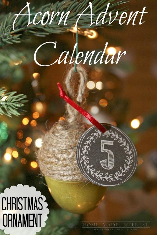 Acorn Advent Calendar Christmas Ornament - Home Made Interest