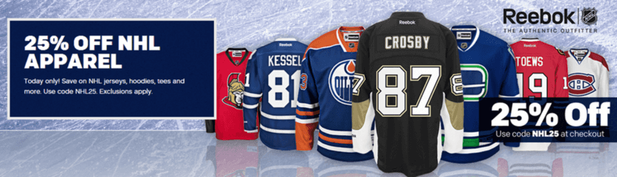 buy online b73a4 cb374 Reebok: 25% OFF NHL Apparel {Jersey's, Tees & More ...