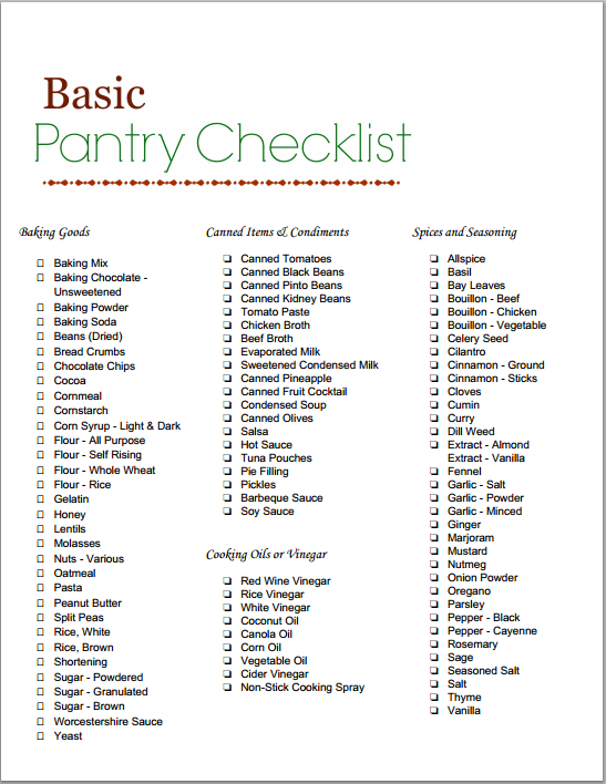 Pantry Checklist - Click to Print