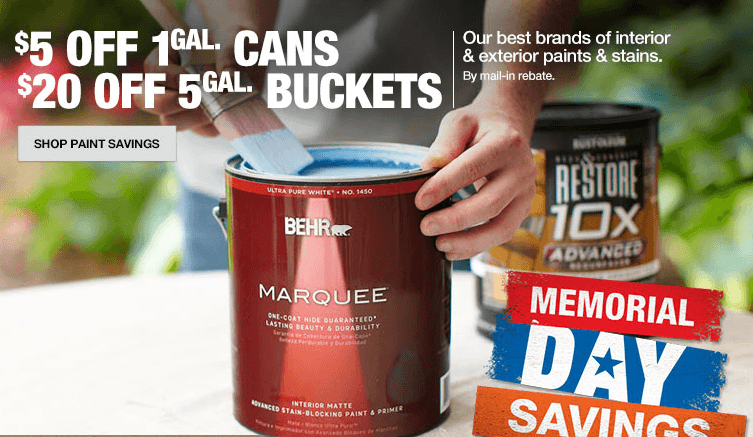 Home Depot Memorial Day Paint Savings: Up to $20 off Select Paint via Rebate