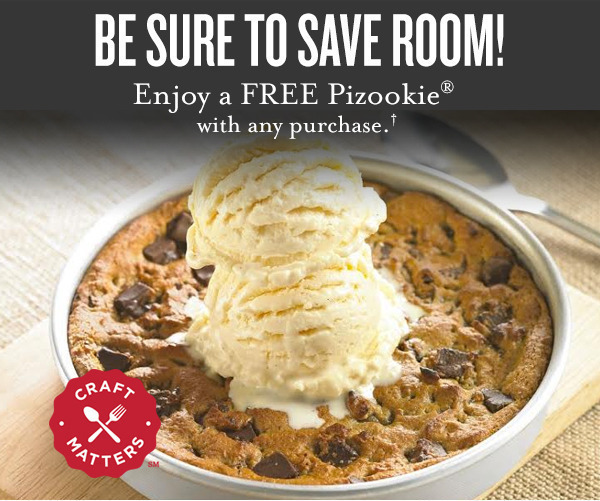 The main reason this location got 4 stars was thanks to our servers service - Brad. This location had a promotion going on where if you download the app you get a free pizookie and my friend and I.