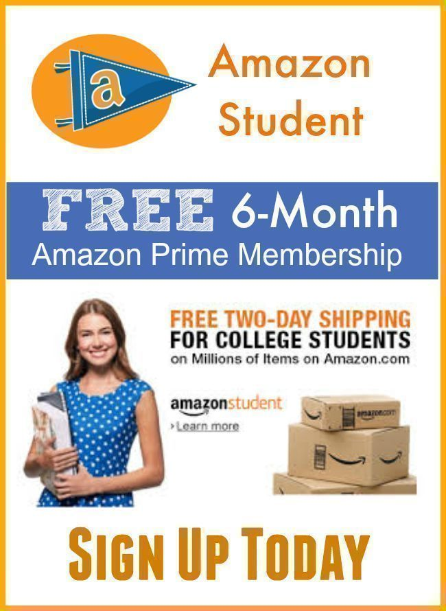 Amazon Student:  FREE 6-Month Amazon Prime Membership