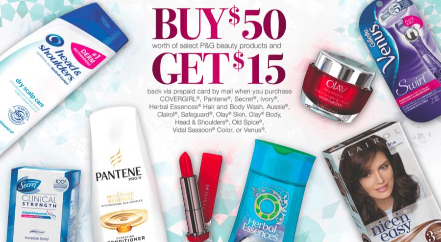 NEW P&G Beauty Rebate: Spend $50 & get a $15 Prepaid Card