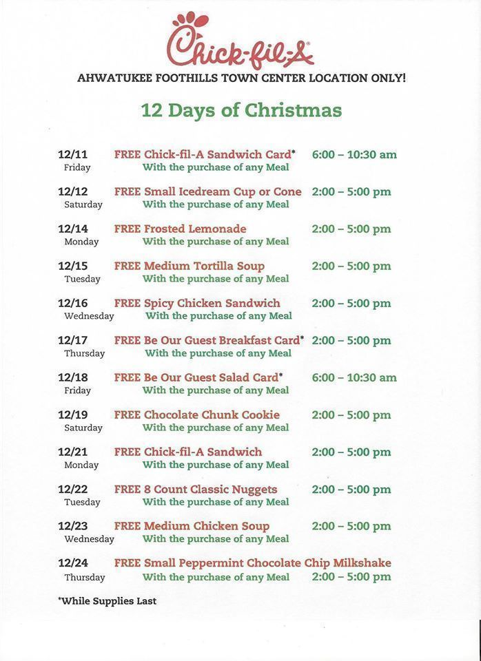 Chick-fil-A 12 Days of Christmas Offers (Check your Individual ...