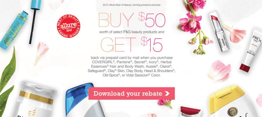 NEW Proctor & Gamble Spring Rebate (Spend $50 & Get $15)