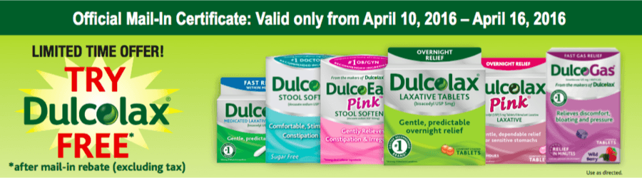 Try Dulcolax FREE after Mail in Rebate (4/10 – 4/16)