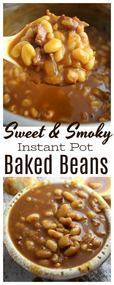 Homemade sweet and smoky baked beans from scratch in a thick, sweet and sticky sauce, perfect for all of your favorite get togethers or summer cookouts! #beans #bakedbeans #InstantPot #PressureCooker #sidedish