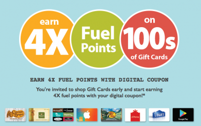 Earn 4X Fuel Points with Gift Card Purchase at Kroger