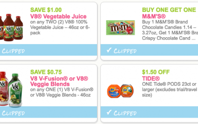 NEW Coupons for V8, M&M's, Tide + More