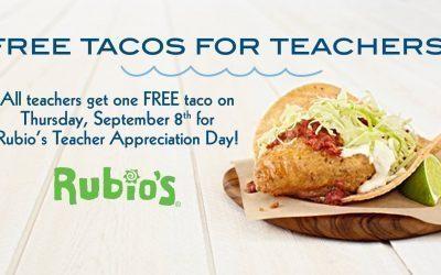 Rubio's: FREE Single Taco for Teachers on September 8th