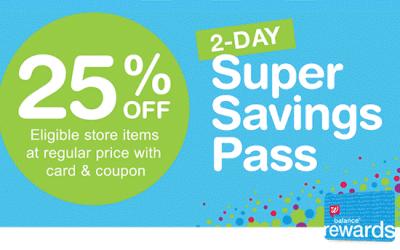 Walgreens: 25% OFF Super Savings Pass