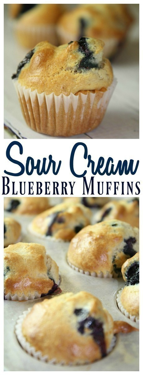 These Sour Cream Blueberry Muffins are not your traditional muffin!  They are a blend of coconut oil, minimal sugar and fresh blueberries encapsulated in a yummy sour cream batter.