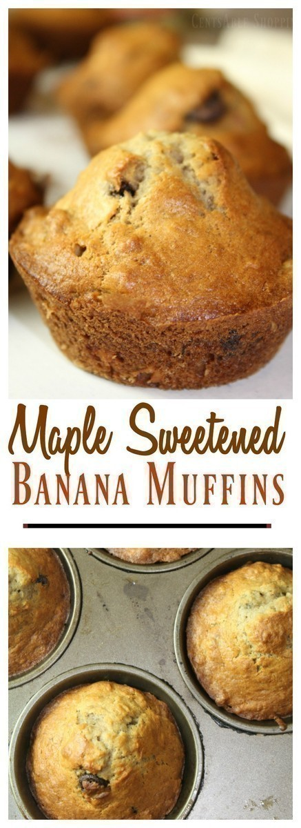 These maple sweetened banana muffins are made with white whole wheat flour, chia seeds, bananas and raw milk kefir, sweetened with maple syrup and baked to perfection.