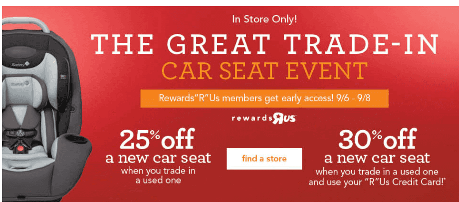 toys r us great trade in event score 25 off car seat purchase. Black Bedroom Furniture Sets. Home Design Ideas