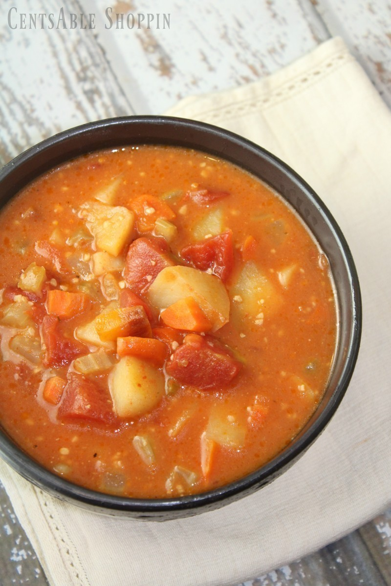 Lots of hearty vegetables simmer in a rich veggie broth with tomatoes to make this hearty vegetable soup.