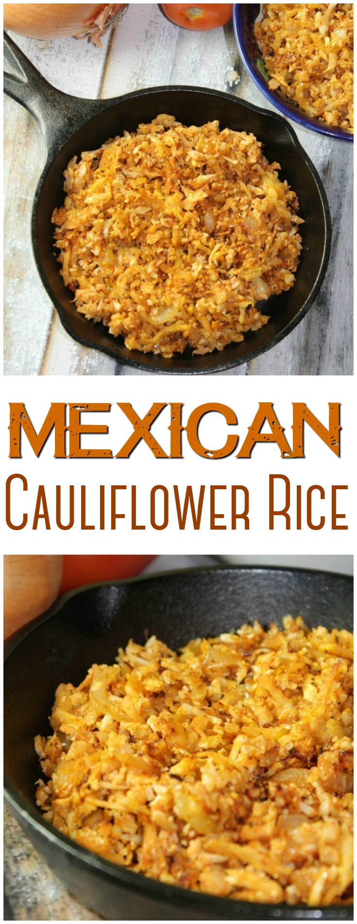 You can make this Mexican Cauliflower Rice in less than 15 minutes with simple ingredients!  It's a great low-carb alternative to traditional Mexican rice.