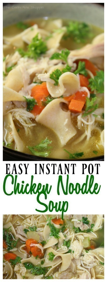 The traditional chicken noodle soup in your Instant Pot in less than 15 minutes.