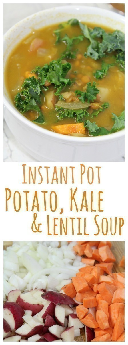 Combine sweet potatoes, regular potatoes, kale and lentils in this hearty soup that cooks up in 30 minutes or less in your Instant Pot.