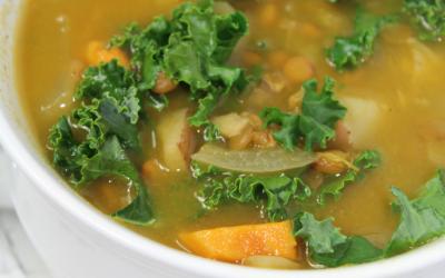 Instant Pot Potato, Kale and Lentil Soup