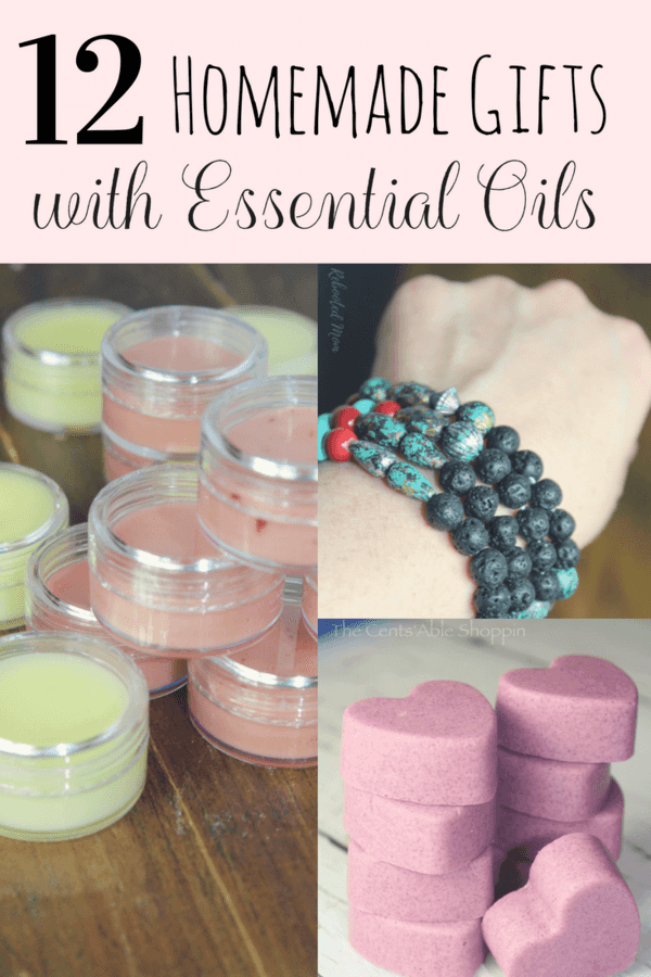 Here are 12 wonderful, homemade gifts you can make with essential oils for birthdays, Valentine's Day, Mother's Day & more!