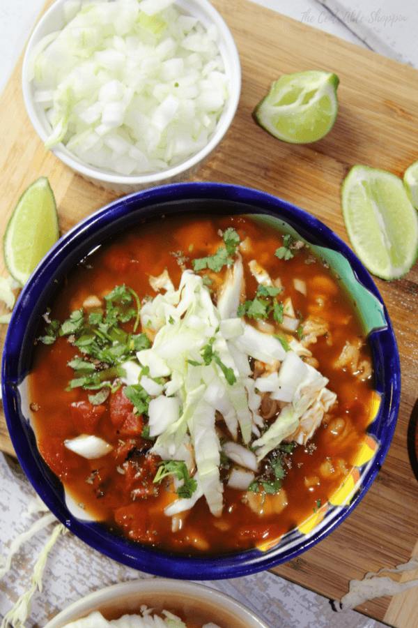 Combine ancho chiles with lots of hominy and beans in this spicy vegetarian posole that's a nice twist from the original. Garnish with lots of cabbage,