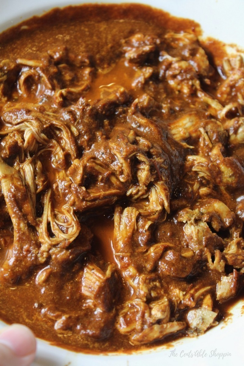 Use your Instant Pot to make chicken smothered in a spicy and savory ancho chile sauce, all in under 20 minutes.