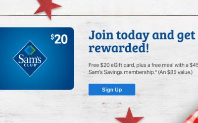 Sam's Club Membership: $20 Gift Card + FREE Food