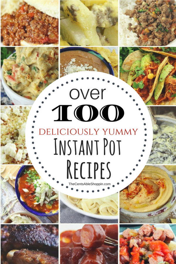 Over 100 yummy Instant Pot recipes you won't want to miss - from pork to beef, vegetarian options, sides, desserts, healthy veggies & more.