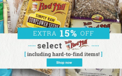 Vitacost: 15% OFF Select Bob's Red Mill Hard to Find Items