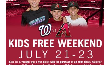 Diamondbacks Kids FREE Weekend July 21st – 23rd