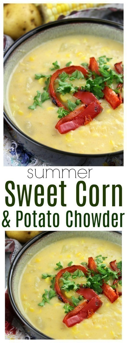 This rich and creamy corn chowder is filled with warm spices like paprika and cayenne pepper, combined with potatoes and topped with roasted peppers. It's the perfect soup for summer!