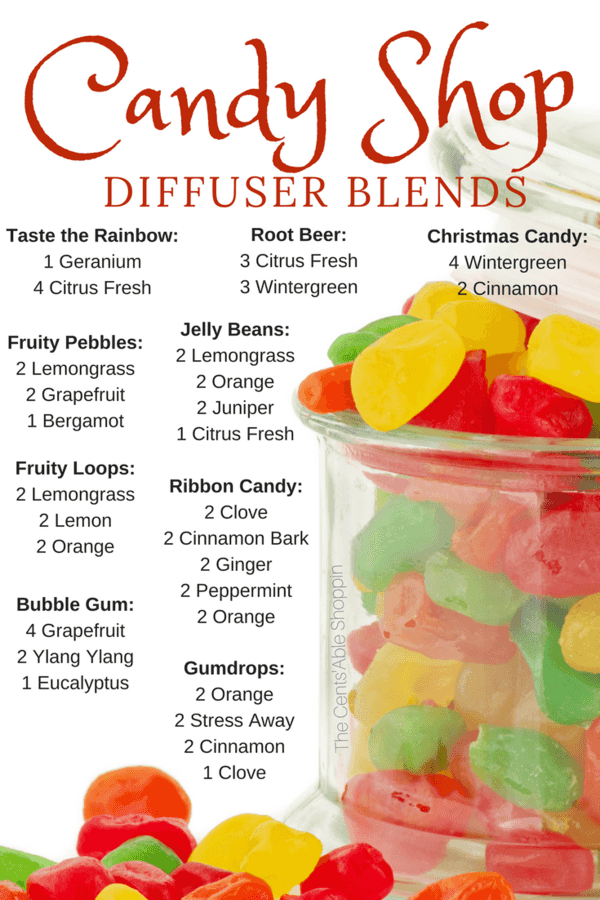 Bookmark these FUN Candy Shop Diffuser Blends to diffuse with the kids, plus over 90 additional diffuser recipes!