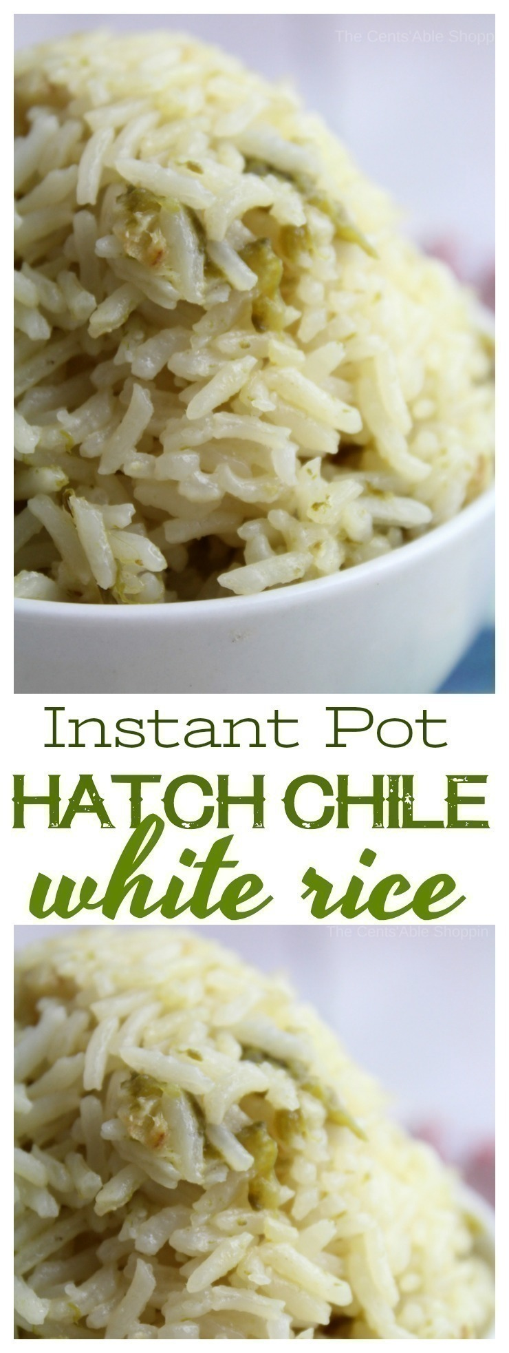 Kick traditional white rice up a notch with the addition of green chiles and minced garlic in a flavorful chicken broth.  #InstantPot #HatchChiles #rice #PressureCooker #rice